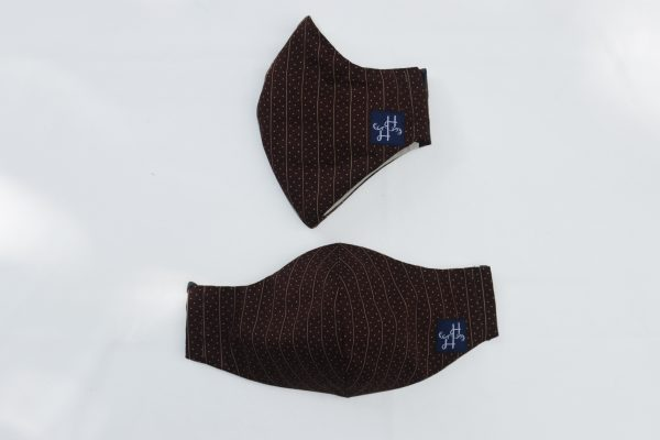Face Mask - Brown Stripe with Dot